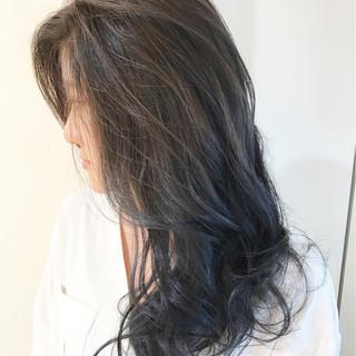 ロング アッシュ 暗髪 ブルー ヘアスタイルや髪型の写真・画像