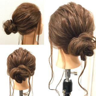 簡単ヘアアレンジ 結婚式 セミロング 謝恩会 ヘアスタイルや髪型の写真・画像