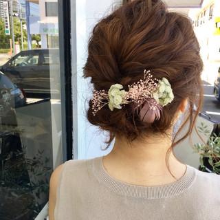ミディアム 結婚式 まとめ髪 ヘアアレンジ ヘアスタイルや髪型の写真・画像