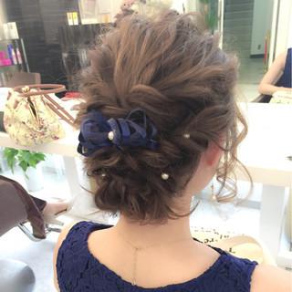 ヘアアレンジ ミディアム 結婚式 パーティ ヘアスタイルや髪型の写真・画像