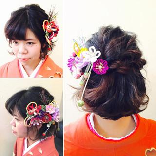 ヘアアレンジ 袴 ゆるふわ ボブ ヘアスタイルや髪型の写真・画像
