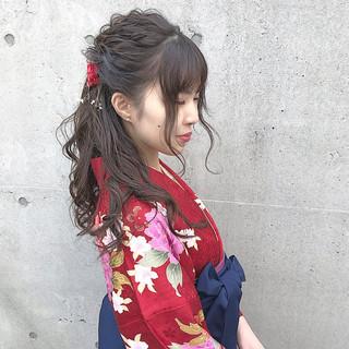 ヘアアレンジ ロング ナチュラル 謝恩会 ヘアスタイルや髪型の写真・画像
