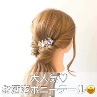 ナチュラル 簡単ヘアアレンジ 結婚式ヘアアレンジ セミロング ヘアスタイルや髪型の写真・画像