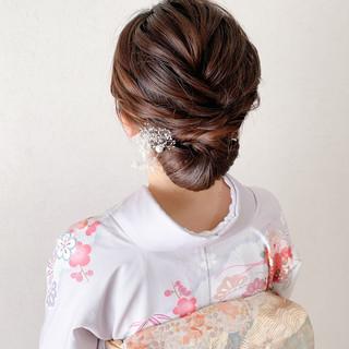 エレガント ミディアム お呼ばれ 結婚式 ヘアスタイルや髪型の写真・画像