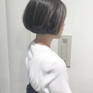 ボブ ミニボブ 透明感 グレージュ ヘアスタイルや髪型の写真・画像