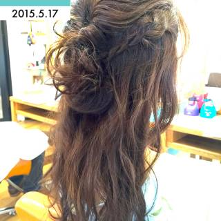 編み込み 結婚式 ロング ヘアアレンジ ヘアスタイルや髪型の写真・画像
