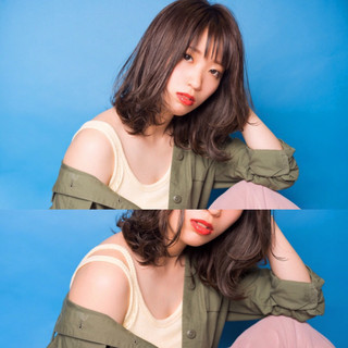 ミルクティー ミディアム アンニュイ ヘアアレンジ ヘアスタイルや髪型の写真・画像