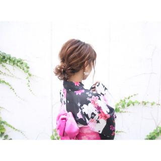 アップスタイル 花火大会 ヘアアレンジ ロング ヘアスタイルや髪型の写真・画像