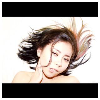 インナーカラー ストリート 外国人風 ミディアム ヘアスタイルや髪型の写真・画像