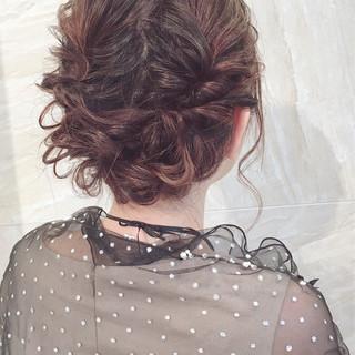 結婚式 簡単ヘアアレンジ ミディアム ゆるふわ ヘアスタイルや髪型の写真・画像