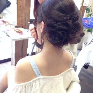 コンサバ 編み込み フェミニン ヘアアレンジ ヘアスタイルや髪型の写真・画像