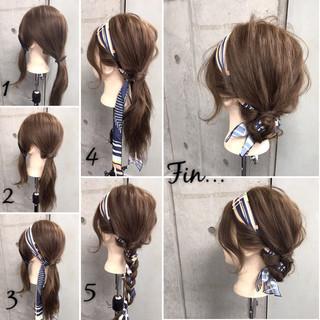 アウトドア 簡単 ヘアアレンジ ヘアアクセ ヘアスタイルや髪型の写真・画像