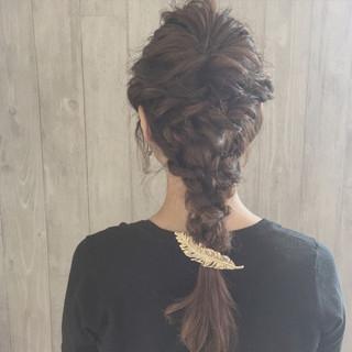 二次会 結婚式 ねじり 編み込み ヘアスタイルや髪型の写真・画像