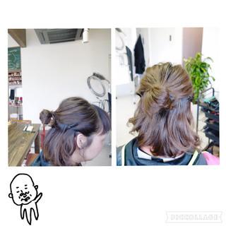 ハーフアップ ヘアアレンジ お団子 ショート ヘアスタイルや髪型の写真・画像