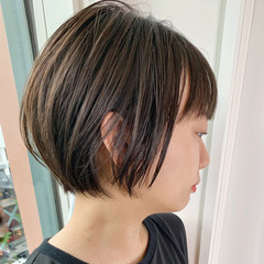 黒髪 前下がりショート ショート 小顔ヘア ヘアスタイルや髪型の写真・画像