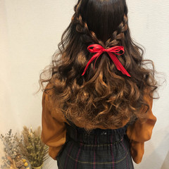 編み込みヘア ハーフアップ ヘアセット ヘアアレンジ ヘアスタイルや髪型の写真・画像
