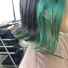 ボブ ストリート ミント インナーカラー ヘアスタイルや髪型の写真・画像