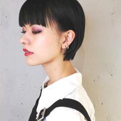 黒髪 ショートボブ ハンサムショート モード ヘアスタイルや髪型の写真・画像