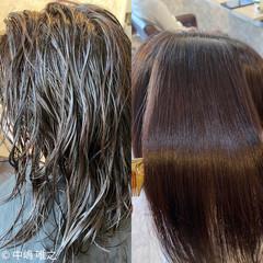 髪質改善カラー ストレート ピンクアッシュ ミディアム ヘアスタイルや髪型の写真・画像