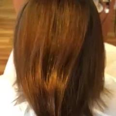 ミディアム 切りっぱなしボブ ナチュラル 縮毛矯正 ヘアスタイルや髪型の写真・画像