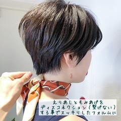 小顔 黒髪 エレガント ショート ヘアスタイルや髪型の写真・画像