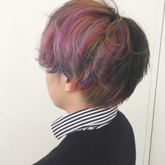 ユニコーンカラー ストリート ショート ピンク ヘアスタイルや髪型の写真・画像