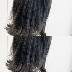 ハイライト コントラストハイライト 切りっぱなしボブ ミディアム ヘアスタイルや髪型の写真・画像