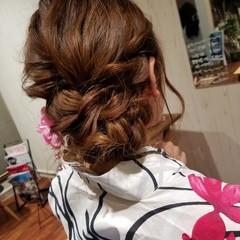フェミニン ヘアアレンジ 花火大会 ミディアム ヘアスタイルや髪型の写真・画像