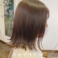 ブラウンベージュ ミディアム 透明感 圧倒的透明感 ヘアスタイルや髪型の写真・画像
