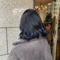 ブルージュ ブルーブラック ボブ ブルー ヘアスタイルや髪型の写真・画像