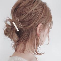 おだんご ミディアム 簡単ヘアアレンジ ヘアアレンジ ヘアスタイルや髪型の写真・画像