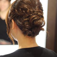 結婚式 簡単ヘアアレンジ ナチュラル セミロング ヘアスタイルや髪型の写真・画像