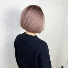 切りっぱなしボブ 透明感カラー バレイヤージュ グラデーション ヘアスタイルや髪型の写真・画像