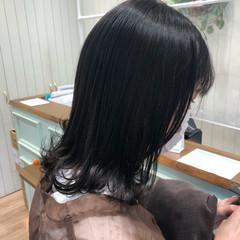 セミロング ダークカラー ココアブラウン ナチュラルブラウンカラー ヘアスタイルや髪型の写真・画像