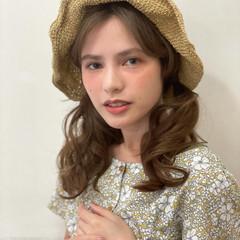 ナチュラル ヘアアレンジ 麦わら帽子 大人かわいい ヘアスタイルや髪型の写真・画像