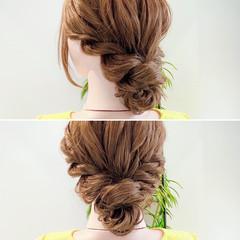 アップスタイル ヘアセット お団子ヘア ロング ヘアスタイルや髪型の写真・画像