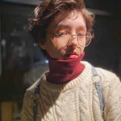 ゆるふわパーマ ショートヘア くせ毛風 ガーリー ヘアスタイルや髪型の写真・画像