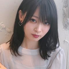 黒髪 ミディアム 透明感 暗髪 ヘアスタイルや髪型の写真・画像