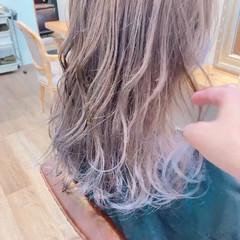 ラベンダーグレージュ パープルアッシュ パープルカラー ミントアッシュ ヘアスタイルや髪型の写真・画像