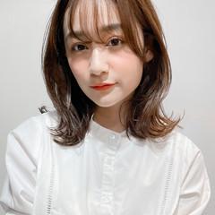 ナチュラル ミディアム ひし形シルエット レイヤーカット ヘアスタイルや髪型の写真・画像
