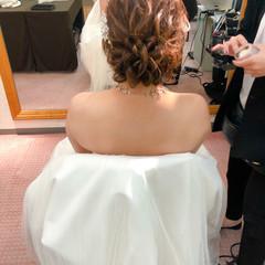 アップ セミロング 結婚式 ヘアアレンジ ヘアスタイルや髪型の写真・画像