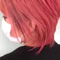 ガーリー ショート ピンク ウルフカット ヘアスタイルや髪型の写真・画像