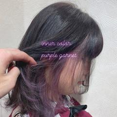 グレージュ インナーカラー ブリーチカラー ガーリー ヘアスタイルや髪型の写真・画像