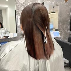 ガーリー チェリーレッド ミディアム ピンク ヘアスタイルや髪型の写真・画像