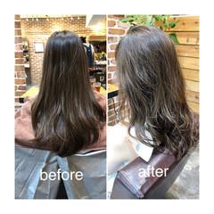 ハイライト パーマ デジタルパーマ グレージュ ヘアスタイルや髪型の写真・画像