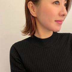透明感カラー イヤリングカラー ボブ デザインカラー ヘアスタイルや髪型の写真・画像