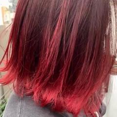 カシスレッド ストリート チェリーレッド 赤髪 ヘアスタイルや髪型の写真・画像