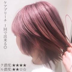ピンクバイオレット 透明感カラー ブリーチカラー ピンクラベンダー ヘアスタイルや髪型の写真・画像