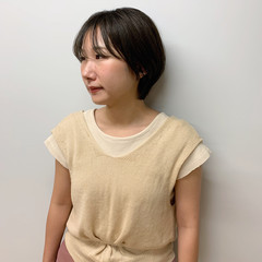 シンプル 前髪アレンジ ナチュラル ショートカット ヘアスタイルや髪型の写真・画像