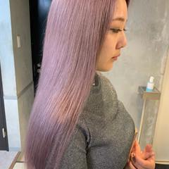 ラベンダーピンク ロング ピンクパープル ピンクバイオレット ヘアスタイルや髪型の写真・画像